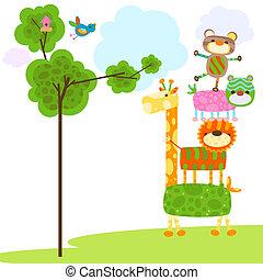 dyr, cute, konstruktion