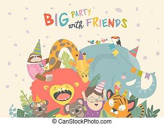 dyr, fødselsdag, vektor, baggrund, cartoon, glade