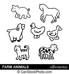 dyr farm, silhuetter, vektor, iso