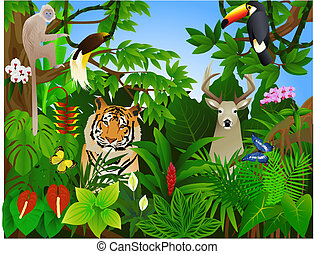 dyr, ind, den, jungle