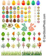 dyr, træer, blomster, påske ægger, samling, stor