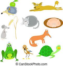 dyr, vektor, sæt
