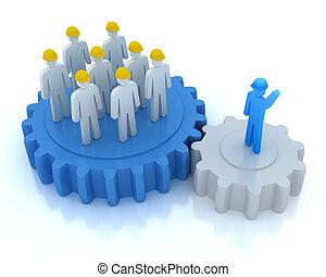 dyrekcyjny, jego, praca, lider, drużyna
