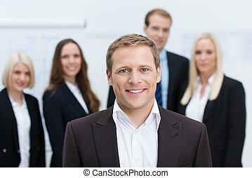 dyrektor, albo, lider, przystojny, drużyna