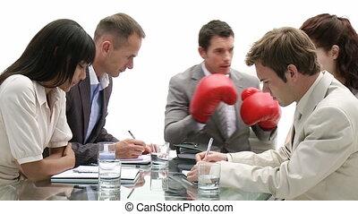 dyrektor, boks, chodząc, akcentowany, glo