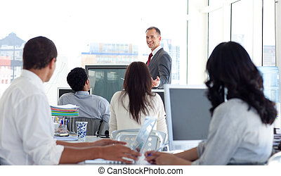 dyrektor, handlowy, samiec, projekt, objaśniając