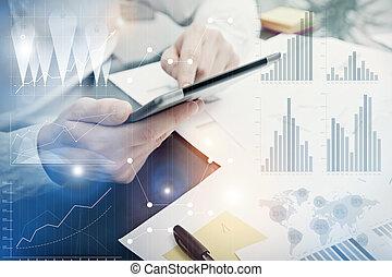 dyrektor, handlowy, screen., film, graficzny, online, targ, ...
