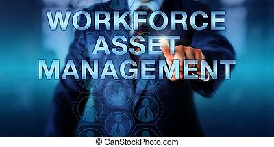 dyrektor, kierownictwo, cenny nabytek, dotykanie, workforce