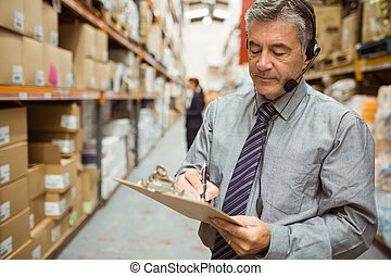 dyrektor, pisanie, clipboard, magazyn