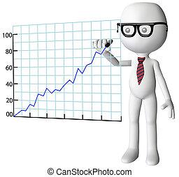 dyrektor, rysunek, towarzystwo, wzrost, powodzenie, wykres