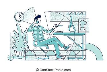 dyrektor, szkic, miejsce pracy, graficzny, prosty, pracownik, tło., styl, rysunek, projektant, biuro, wektor, płaski, sylwetka, telefon, illustration., mówiąc, litera, zajęty, twórczy, biały