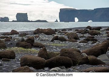 Dyrholaey peninsula in the Atlantic ocean, Iceland