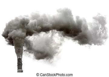Dyrty smoke - Dirty smoke on the white background, ecology...