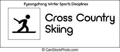 dyscyplina, zima, kraj, krzyż, lekkoatletyka, pyeongchang, igrzyska, narciarstwo, opisywanie, ikona