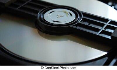 dysk, wnętrze, disk., dvd, ekstrakt, ściąganie, player.
