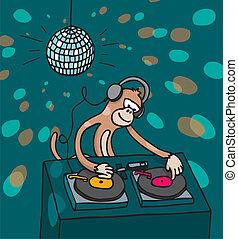 dyskdżokej, muzyka, małpa, interpretacja