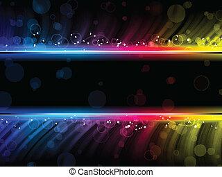dyskoteka, abstrakcyjny, barwny, fale, na, czarne tło