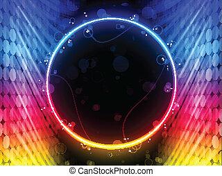 dyskoteka, abstrakcyjny, koło, boks, na, czarne tło
