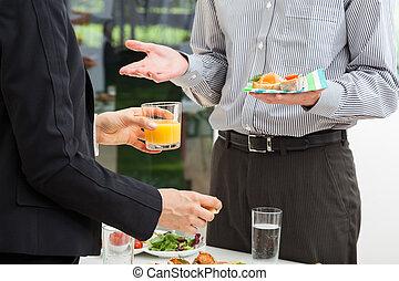 dyskusja, śniadanie, handlowy
