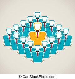 dyskutować, lider, drużyna, jego, pojęcie