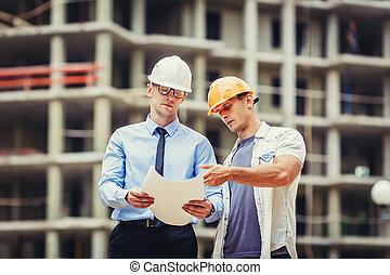 dyskutując, budowniczy, zbudowanie, architekt, umiejscawiać