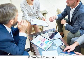 dyskutując handlowy, transakcja, ludzie