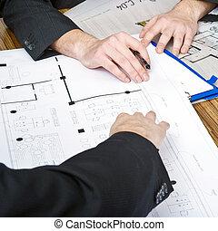 dyskutując, plany, architektoniczny