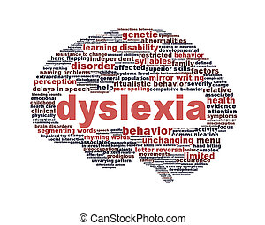 Dyslexia disorder symbol isolated on white