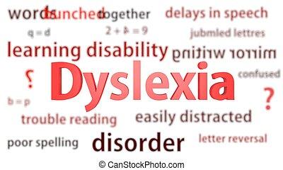 dyslexia, titel, omringde, door, vaag, woorden, van, context., titels, concept., 3d, illustration.