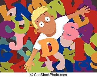 Dyslexia - Young boy drowning in letters as a metaphor for...