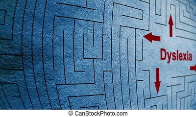 dyslexie, labyrinthe, concept