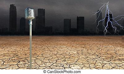 dystopic, microfoon, wereld