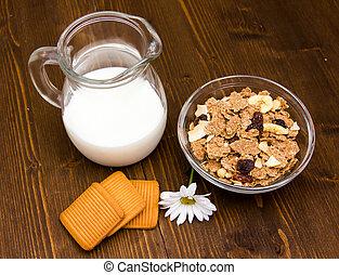 dzbanek, drewniany puchar, zboże, stół, zobaczony, mleczny, nad