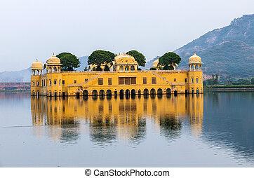 dzhal-mahal, 水, century., 宮殿, jaipur, mahal), (jal, 第18,...