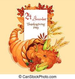 dziękczynienie, żniwa, card., powitanie, cornucopia