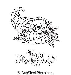 dziękczynienie, cornucopia, doodle, freehand