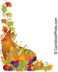 dziękczynienie, cornucopia, winorośle, brzeg, ilustracja
