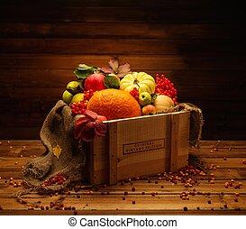 dziękczynienie, dzień, jesienny, nieruchome życie