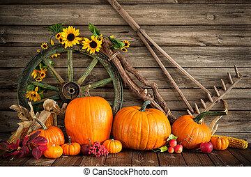 dziękczynienie, jesienny, nieruchome życie, z, dynie