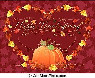dziękczynienie, szczęśliwy, serce, pumpki