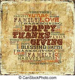 dziękczynienie, tło, szczęśliwy