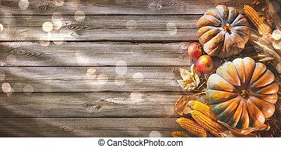 dziękczynienie, tło, z, dynie, i, padające listowie, na, wiejski, drewniany stół