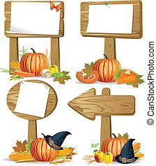 dziękczynienie, znak, deski, drewniany