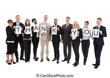 dziękować, handlowy znaczą, dzierżawa, zaprzęg portret, uśmiechanie się, ty