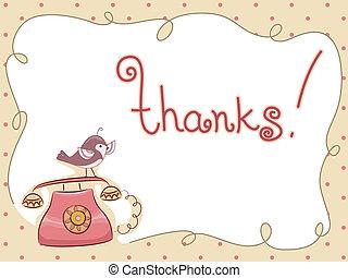 dziękować, telefon, perched, ty, ptak, karta
