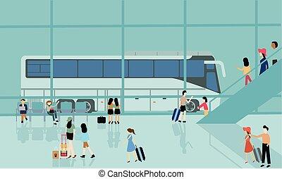 działalność, bussy, ludzie, autobus, podróż, odjazd, ...