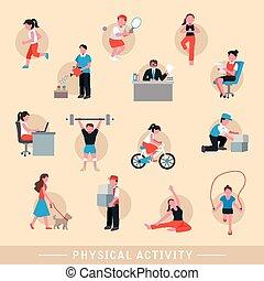 działalność, komplet, fizyczny, ikony