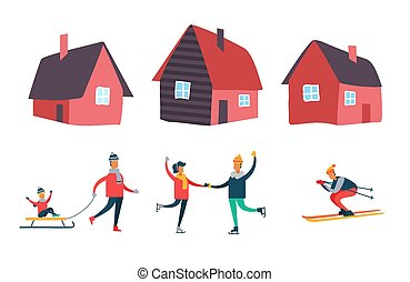 działalność, komplet, zima, ludzie, pora, wektor