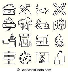 działalność, rozrywka, na wolnym powietrzu, wolny czas, komplet, kreska, ikona