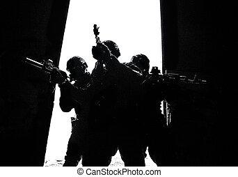 działania, drzwi, policja, breaching, grupa, szczególny